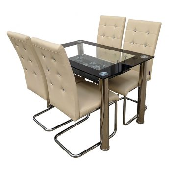 promotii scaune.ro/set de masa Zen 66D23, bej cu diamant