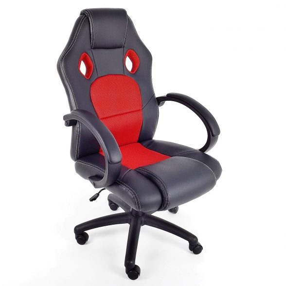 Promotii-scaune.ro-Scaun birou B28 rosu-negru-piele ecologica si mesh