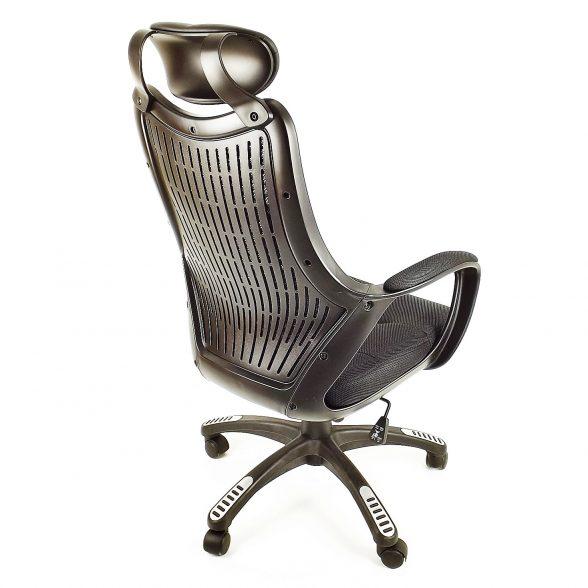 Zendeco.ro-Scaun birou B53 negru din mesh cu tetier si brate de piele ecologica-zendeco (2)