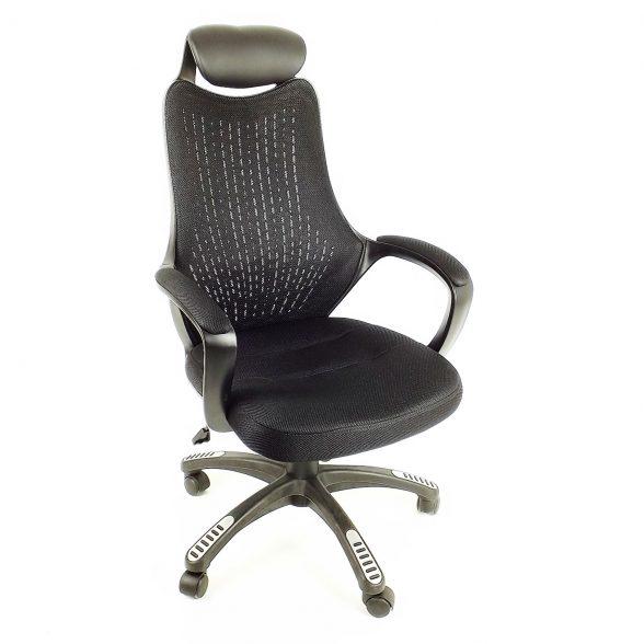 Zendeco.ro-Scaun birou B53 negru din mesh cu tetier si brate de piele ecologica-zendeco (3)