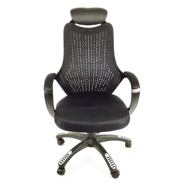 Zendeco.ro-Scaun birou B53 negru din mesh cu tetier si brate de piele ecologica-zendeco (5)