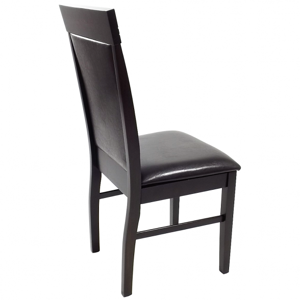 scaun bucatarie 133,wenge din lemn si piele ecologica dark brown (1)