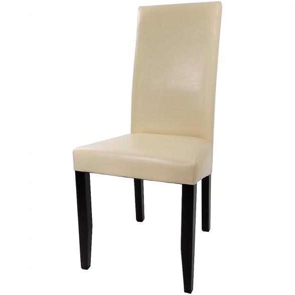 scaun living din lemn wenge si PU crem (1)