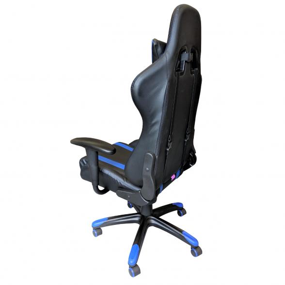 Scaun gaming B24,negru-albastru-zendeco (2)