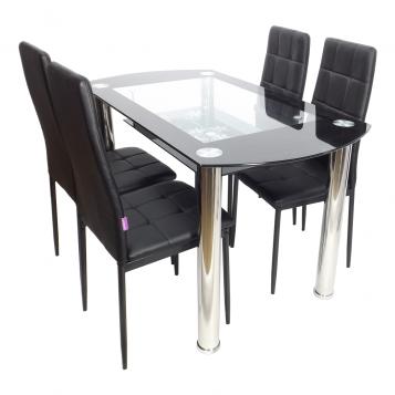 Set de masa SM67D10 negru, cumpos de masa din stica cu picioare cromat si 4 scaune din metal negru