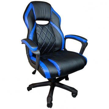 Scaun gaming Arka B105, piele antitranspiratie perforata, negru Albastru/Promotii scaune.ro