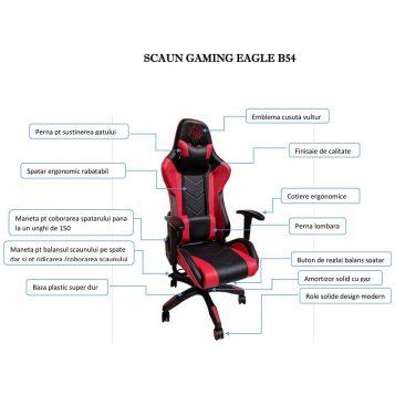 scaun gaming Arka Eagle B54 negru rosu /promotii scaune.ro
