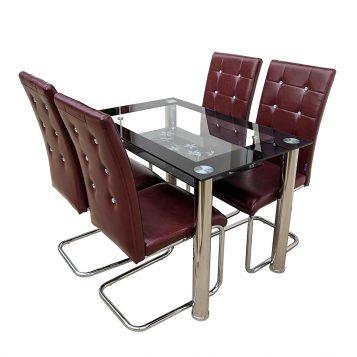 promotii scaune.ro/set de masa Zen 66D23, maro visiniu cu diamant