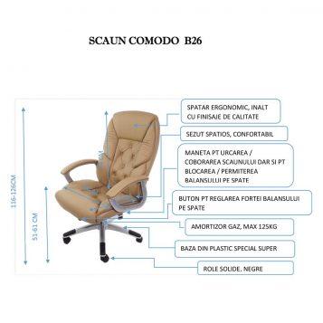promotii scaune.ro-Scaun directorial Comodo B26,crem-zendeco