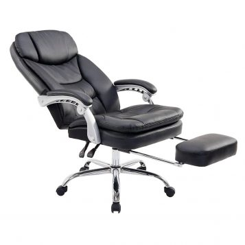 Scaun directorial Comodo B126 negru,cu suport picioare, piele ecologica/promotii scaune.ro