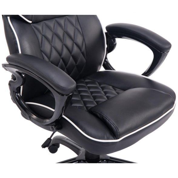 Zendeco.ro-Scaun gaming Arka B119,negru edge alb, piele ecologica