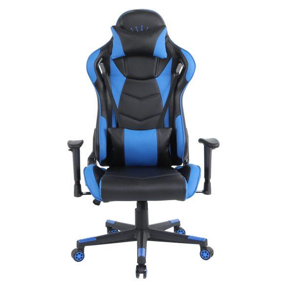 Zendeco.ro/Scaun gaming Arka B144 Racing,negru si albastru, spatar reglabila piele ecologica