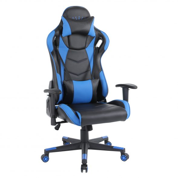 Zendeco.ro-Scaun gaming Arka B144 Racing,negru si albastru, spatar reglabila piele ecologica
