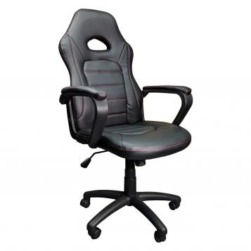 Scaun gaming Zen B149 negru,cusatura rosie,piele ecologica perforata anti transpiratie/promotii scaune.ro