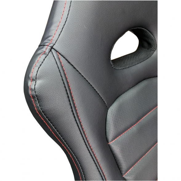 Promotii scaune.ro/Scaun gaming Zen B149 negru,cusatura rosie,piele ecologica perforata anti transpiratie 3 (2)