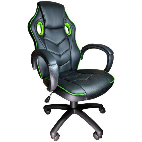 Promotii scaune.ro-Scaun gaming Arka b19 verde, piele perforata anti transpiratie