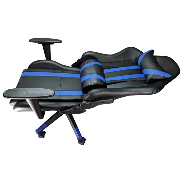 Scaun Gaming B201 Racing V5 black blue, piele ecologica
