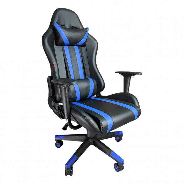 Promotii scaune.ro-Scaun Gaming B201 Racing V5 black blue, piele ecologica