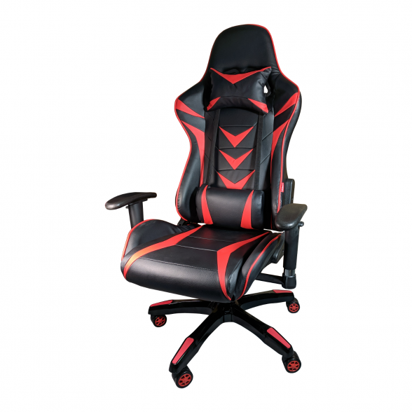 Promotii scaune.ro-Scaun Gaming B208 Racing V6, negru si rosu, piele ecologica