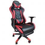 Zendeco.ro-Scaun Gaming B207 SPIDER black red cu suport picioare