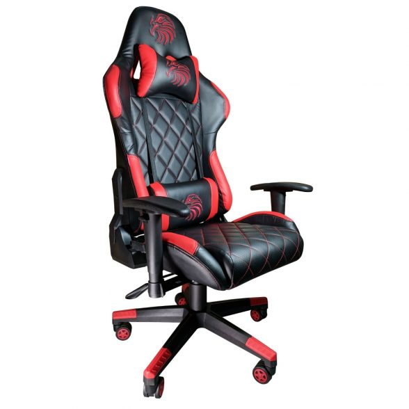 Promotii scaune.ro–Scaun gaming Arka b56 Eagle, rosu, piele perforata anti transpiratie
