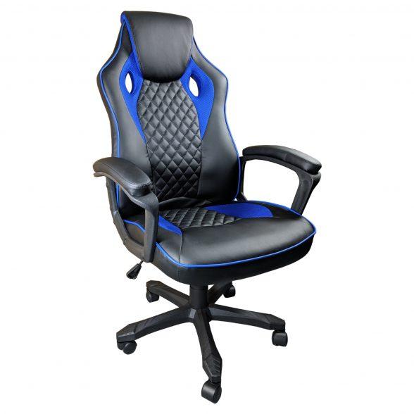 Promotii scaune.ro-Scaun gaming Arka B107, piele antitranspiratie perforata, black blue