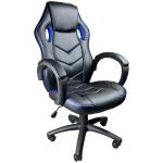 Scaun gaming Arka B19 black blue, piele perforata anti transpiratie/Promotii-scaune.ro