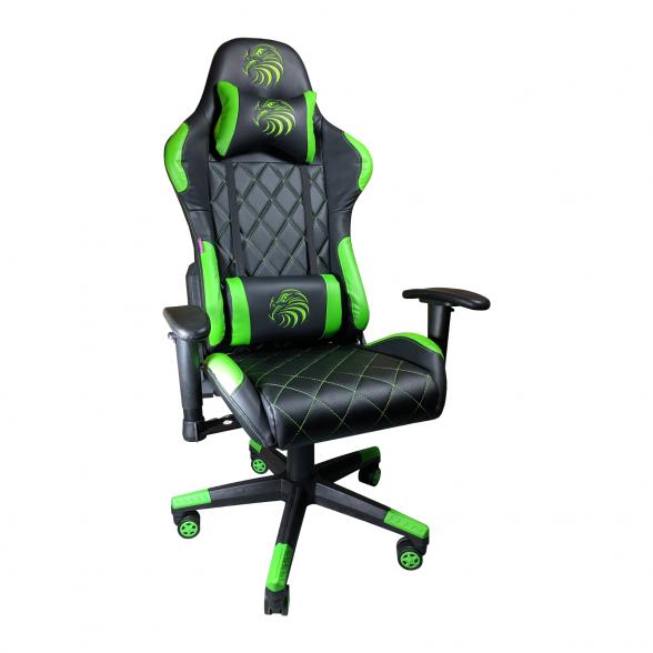 Zendeco.ro-Scaun gaming Arka B56 Eagle, negru verde, piele perforata anti transpiratie