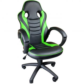 Scaun gaming B99 verde, piele ecologica perforata/Promotii-scaune.r