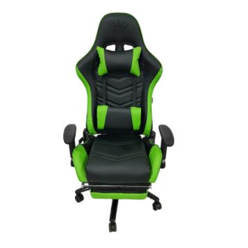 Scaun gaming Arka Line B61, negru verde cu suport picioare, piele perforata ecologica
