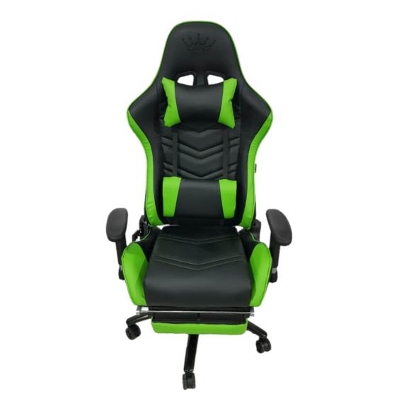 Scaun Gaming Arka Chairs B61 verde piele perforata cu suport picioare-Zendeco.ro
