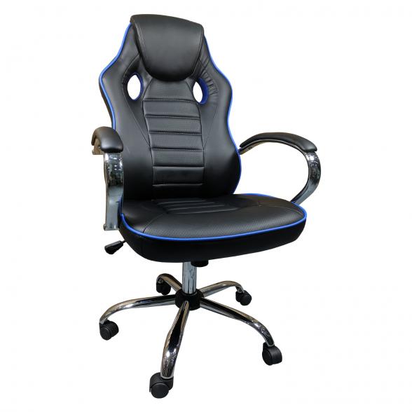Scaun ergonomic Arka B18 black blue, piele anti transpiratie perforata ecologica-Zendeco.ro