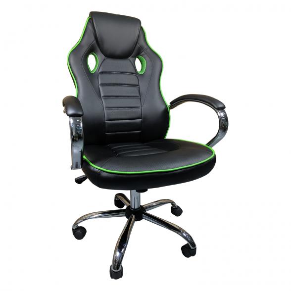Scaun ergonomic Arka B18 black green, piele anti transpiratie perforata ecologica-Zendeco.ro
