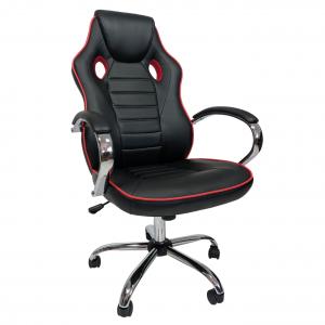 Scaun ergonomic Arka B18 black red, piele anti transpiratie perforata ecologica/Promotii-scaune.ro