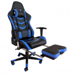 Scaun gaming Arka Line B61 black blue cu suport picioare-Zendeco.ro