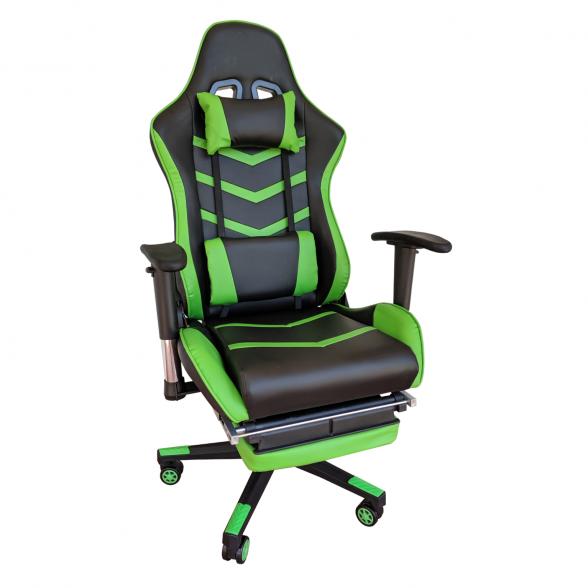 Scaun gaming Arka Line B61 black green cu suport picioare-Zendeco.ro