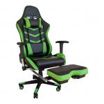 Promotii-scaune.ro/Scaun gaming Arka Line B61 black green cu suport picioare