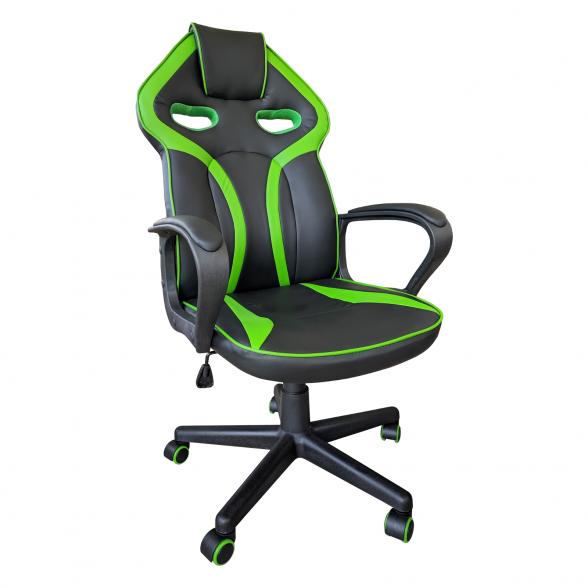Scaun gaming B102 negru verde, piele ecologica,zendeco.ro