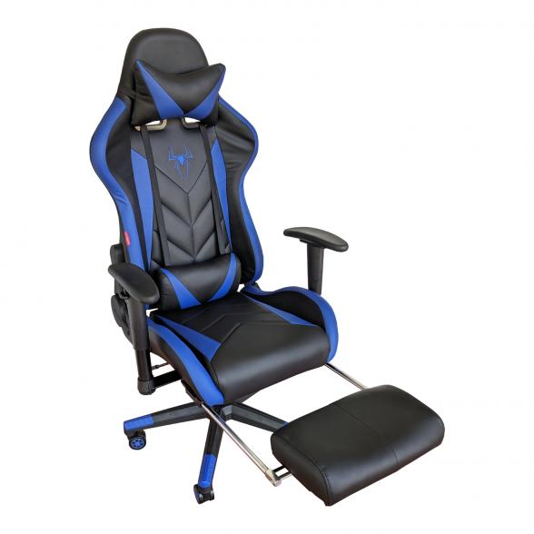 Zendeco.ro-Scaun Gaming Arka B207 SPIDER black blue cu suport picioare