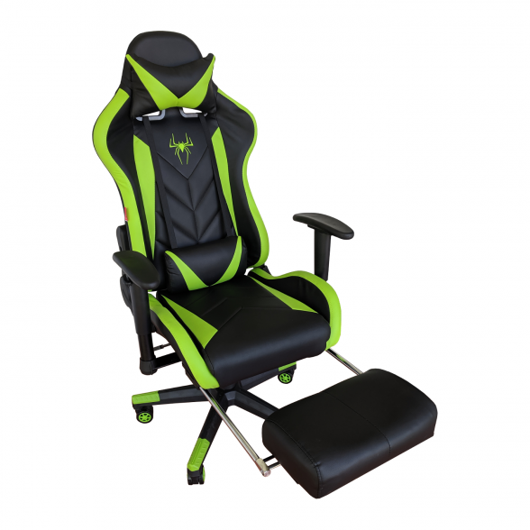 Zendeco.ro-Scaun Gaming Arka B207 SPIDER black green cu suport picioare