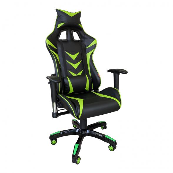 Zendeco.ro-Scaun Gaming B208 Racing V6, negru si verde, piele ecologica
