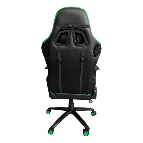 Scaun gaming Arka B64 Bluetooth cu boxe incorporate black green, piele perforata ecologica