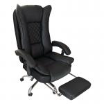 Zendeco.ro-Scaun directorial Arka B67 cu suport picioare, piele ecologica si mesh black