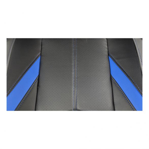 Zendeco.ro-Scaun ergonomic B100 negru albastru gri, piele perforata ecologica