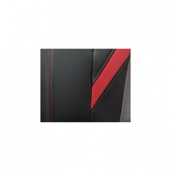 Zendeco.ro-Scaun ergonomic B100 negru rosu gri, piele perforata ecologica