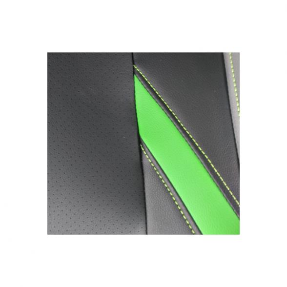 Zendeco.ro-Scaun ergonomic B100 negru verde gri, piele perforata ecologica