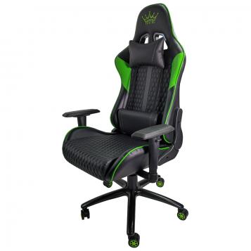 Scaun gaming ARKA B62 black green piele ecologica