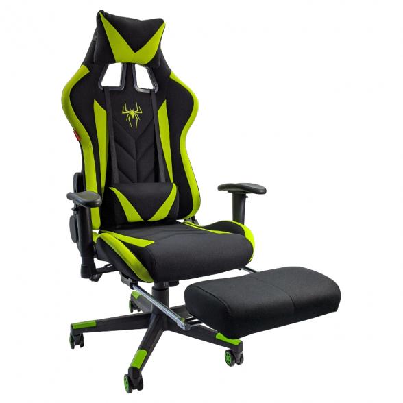 Scaun gaming B207 Spider textil negru verde cu suport picioare-Promotii-scaune.ro