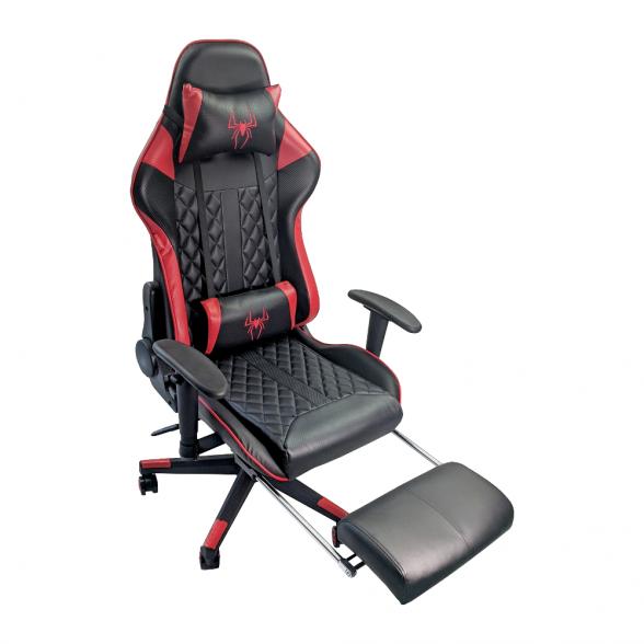 Scaun gaming B213 Spider negru rosu carbon cu suport picioare-Promotii-scaune.ro
