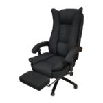 Scaun directorial Arka B67 black cu suport picioare, materiel textil